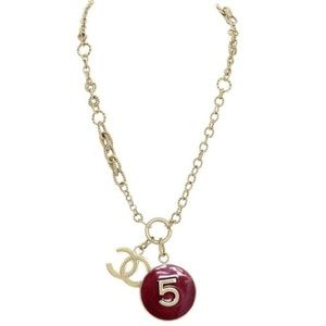 Chanel CC Logo and No. 5 Pendant Necklace